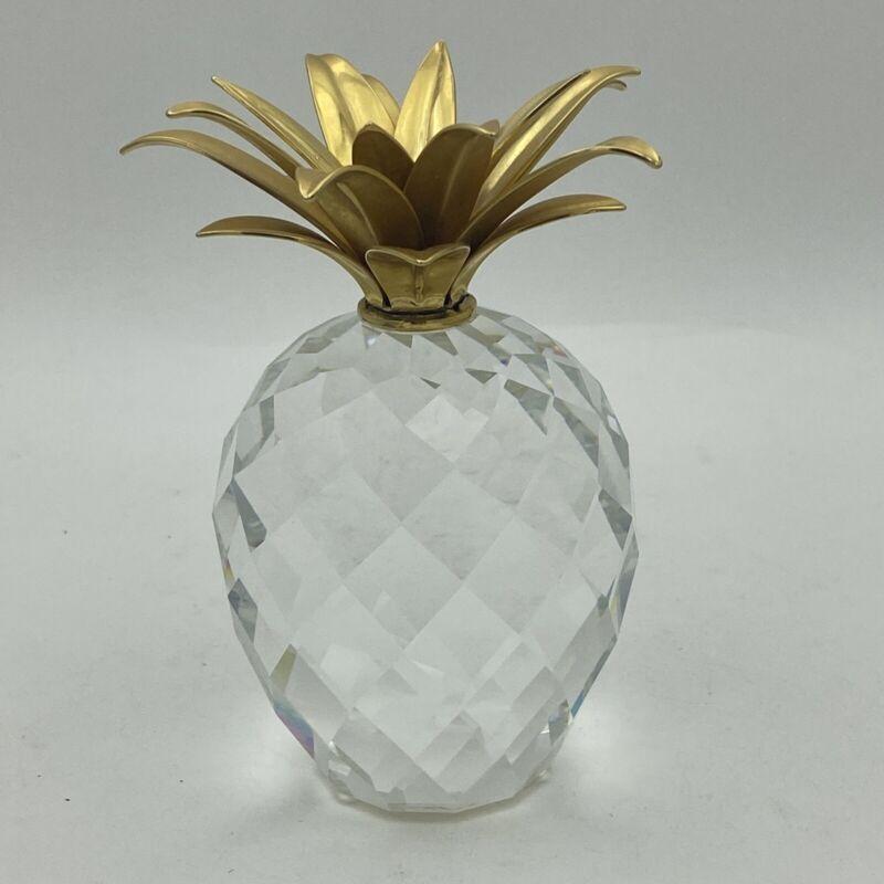 "Swarovski Crystal LARGE 4.25"" Pineapple Smooth Gold Leaves"