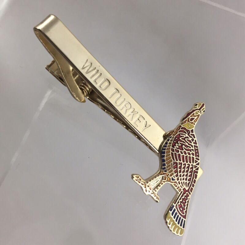 Wild Turkey Bourbon Whiskey Tie Clip Bar Gold Tone Cloisonne Enamel Vintage G1