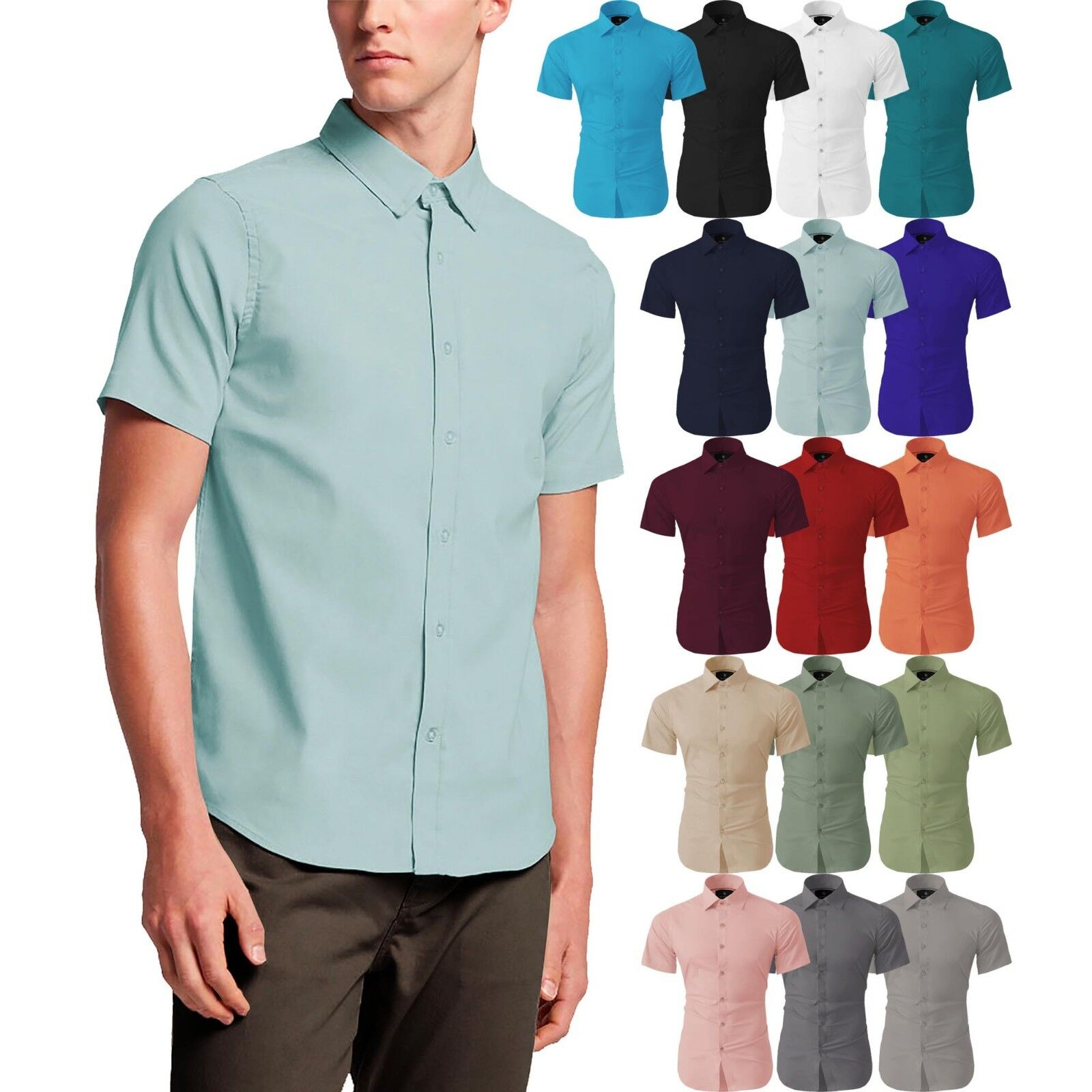 Mens SHORT SLEEVE Dress Shirts Slim Fit Button Down Solid St
