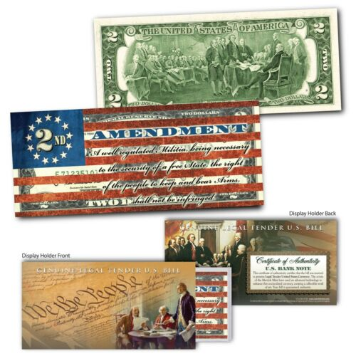 2nd Amendment Right of the People to Keep and Bear Arms Genuine US $2 Bill FLAG