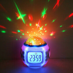 Night Light Projector Lamp Bedroom Alarm Clock With music for Children Kids