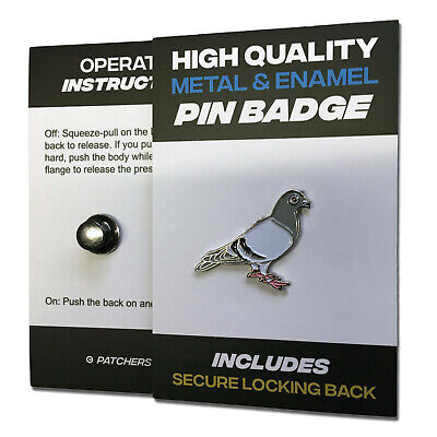 Racing Pigeon High Quality Metal & Enamel Pin Badge with Secure Locking Back