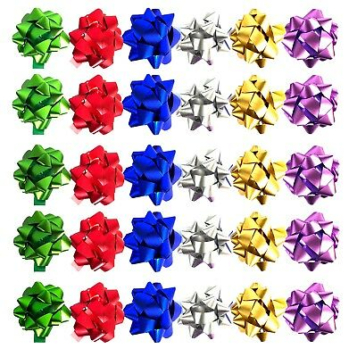 Allgala 30pc Value Pack Christmas Gift Wrapping Bows, 6 Color -