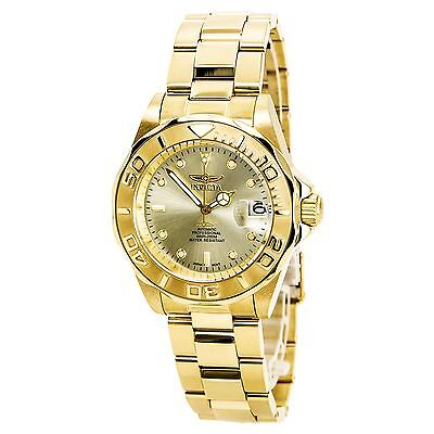 Invicta 9010 Men's Automatic Champagne Dial Gold Steel Watch