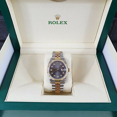 Gents Rolex Datejust in Stainless Steel & 18ct Gold with Slate Grey Diamond Dial