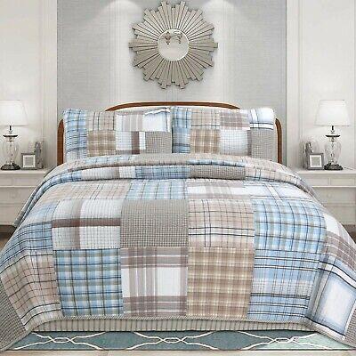 Cozy Line Hank Patchwork 3-piece Reversible Cotton Quilt Set