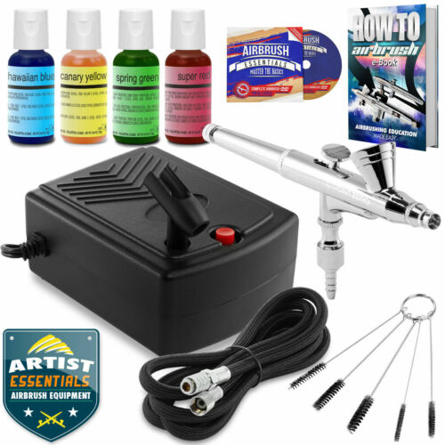 Cake Decorating Airbrush Kit Gravity Feed Air Compressor - 4 Color Set***