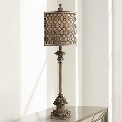 French Buffet Table Lamp Beige Scroll Metal Lattice for Living Room -