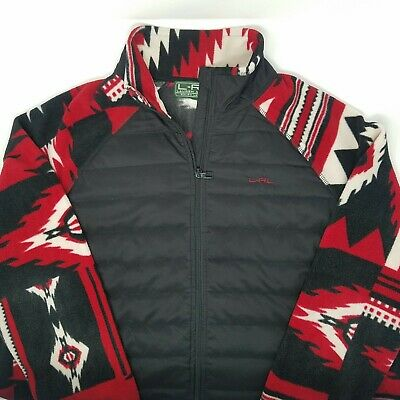 Lauren Ralph Lauren Active Womens Black Red Aztec Tribal Fleece Jacket Puffer Lg