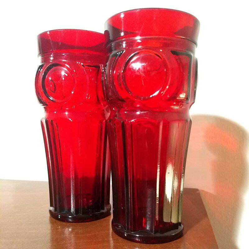 Set of 2 Vintage Wheaton Glass 16 oz Flat Iced Tea Ruby Red Bullseye Tumblers