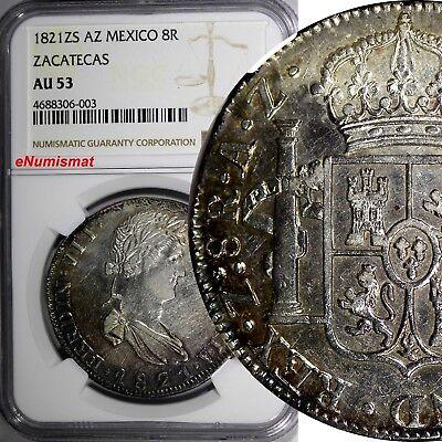Mexico SPANISH Ferdinand VII 1821 ZS AG 8 Reales NGC AU53 ZACATECAS KM# 111.5