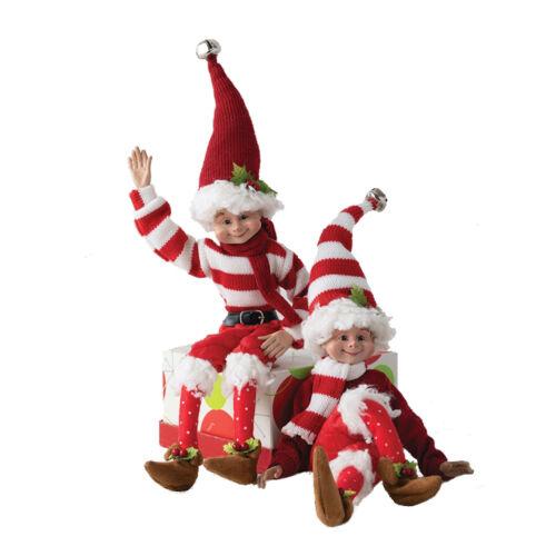 "Set/2 19.5"" Posable Elves Red White Striped Elf Retro Vntg Christmas Elf Decor"