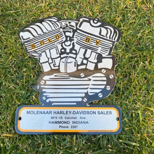 VINTAGE MOLENAAR 1941 HARLEY DAVIDSON PORCELAIN METAL GAS & OIL DEALER AD SIGN!!