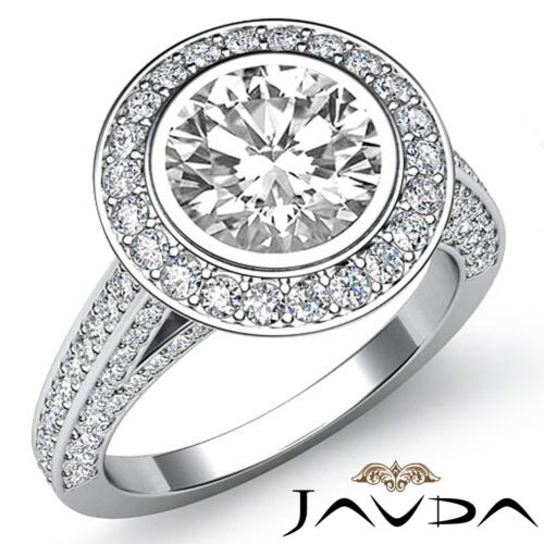 2.7ct Bezel Round Diamond Engagement Halo Pave Ring GIA F VS2 14k White Gold