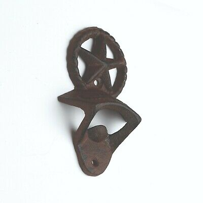 - Bottle Opener Rustic Cast Iron Wall Mounted OPEN HERE Beer Soda