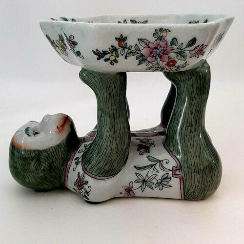 Vtg Ceramic Chinoiserie Monkey Figure on Back Holding Dish / Bowl