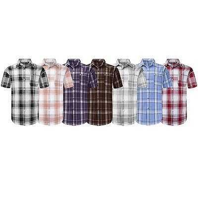 Stripe Short Sleeve Big Shirt (NEW Men Button Up Shirt BIG & TALL L-8XL Striped Plaid Short Sleeve 12)