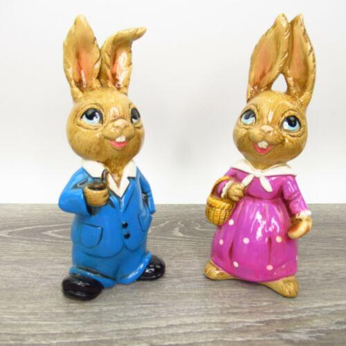 "Set/2 7.5"" Ceramic Mr & Mrs Easter Bunny Girl Boy Rabbit Figurines Vntg 70s"