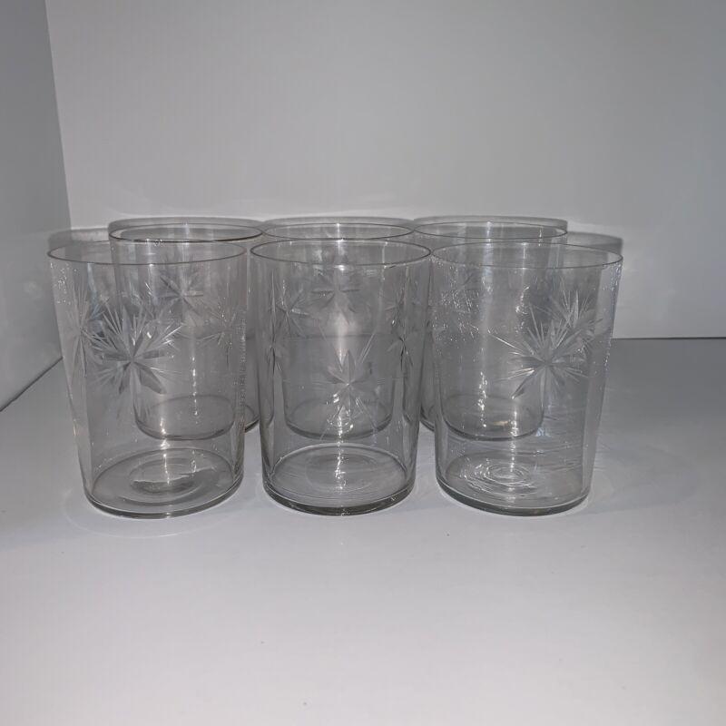 Set of 6 Vintage Starburst Juice Cups Glasses