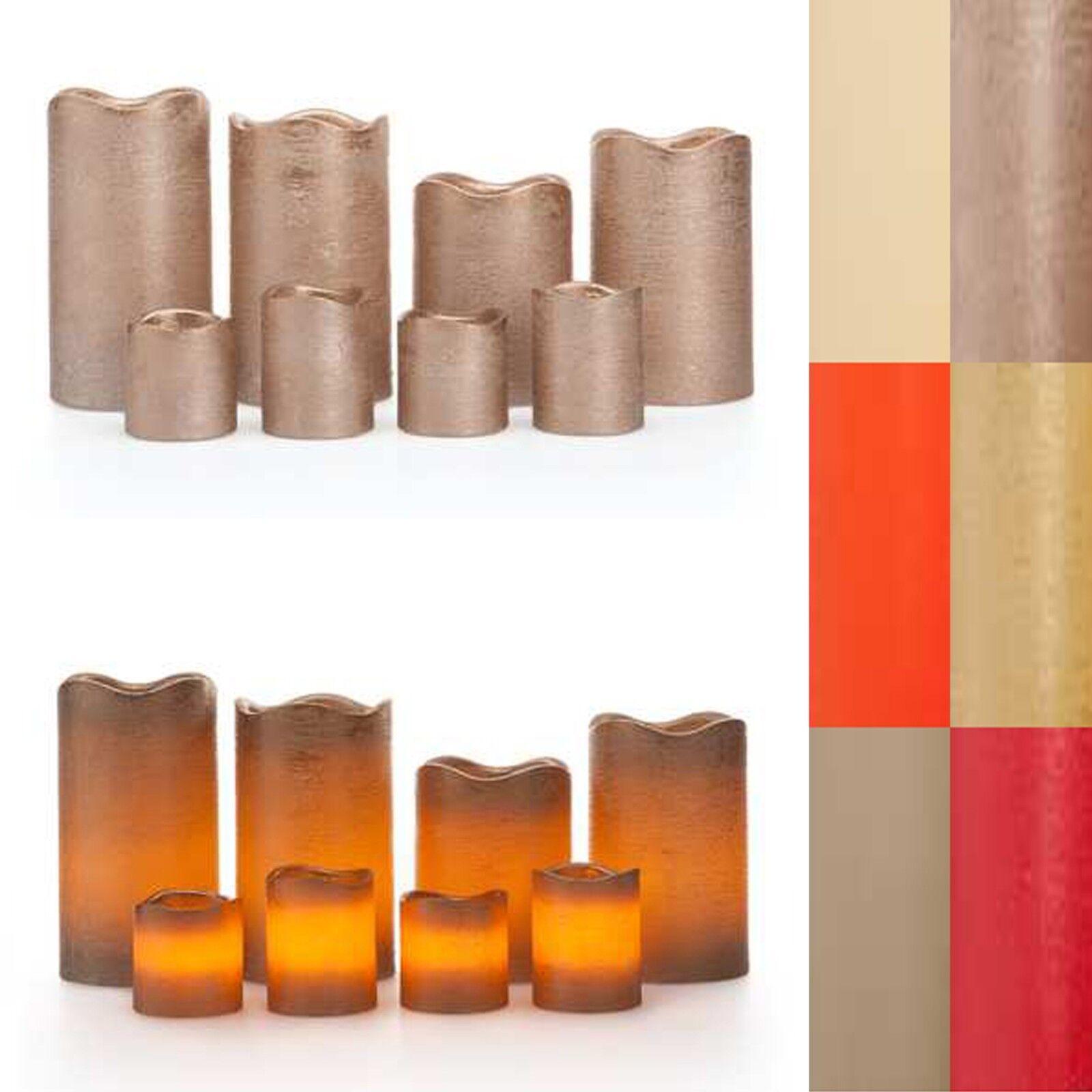 LED Kerzen,8er Set,Timer,4 Stumpenkerzen,4 Votivkerzen,Echtwachskerzen,6 Farben