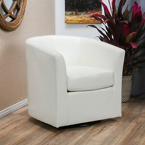 Contemporary Off White Leather Swivel Club Chair