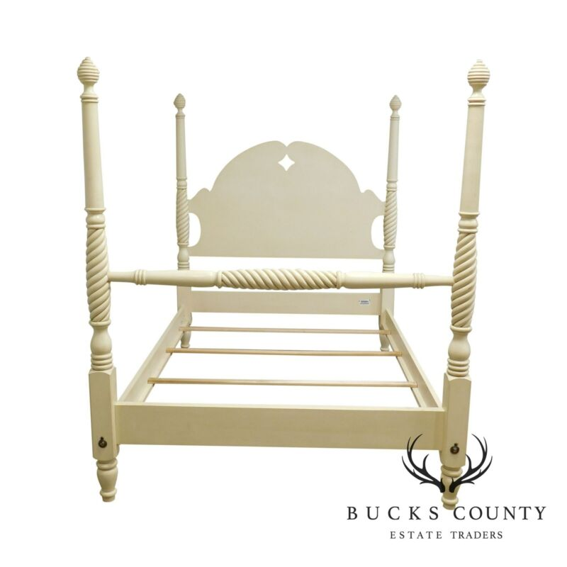 Ethan Allen Country Crossings Cream Painted Full Size Poster Bed