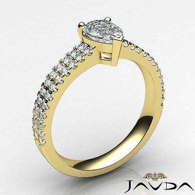 U Cut Prong 2 Row Shank Pear Diamond Engagement Anniversary Ring GIA H VS2 1Ct 8