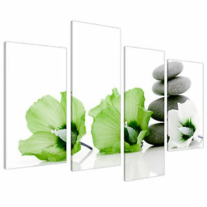 Lime Green Flower Floral Canvas Wall Art Pictures 130cm Prints XL 4070