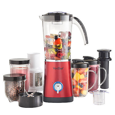 VonShef Jug Blender Smoothie Maker Red Multifunction Grinder Mixer Juicer 4 in 1