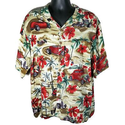 Covington Ford Hot Rods Roadsters Size XL Hibiscus Shirt Palm Trees Hawaiian - Hawaiian Hot Rods