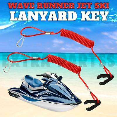 2 New PWC Jet Ski Wave Runner Key Lanyard Stop Kill Switch Safety Red For Yamaha