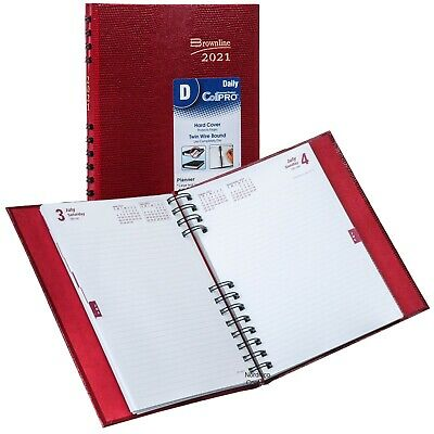 2021 Brownline Cb389c.red Coilpro Daily Planner Diary Hard Cover 8-14x5-34