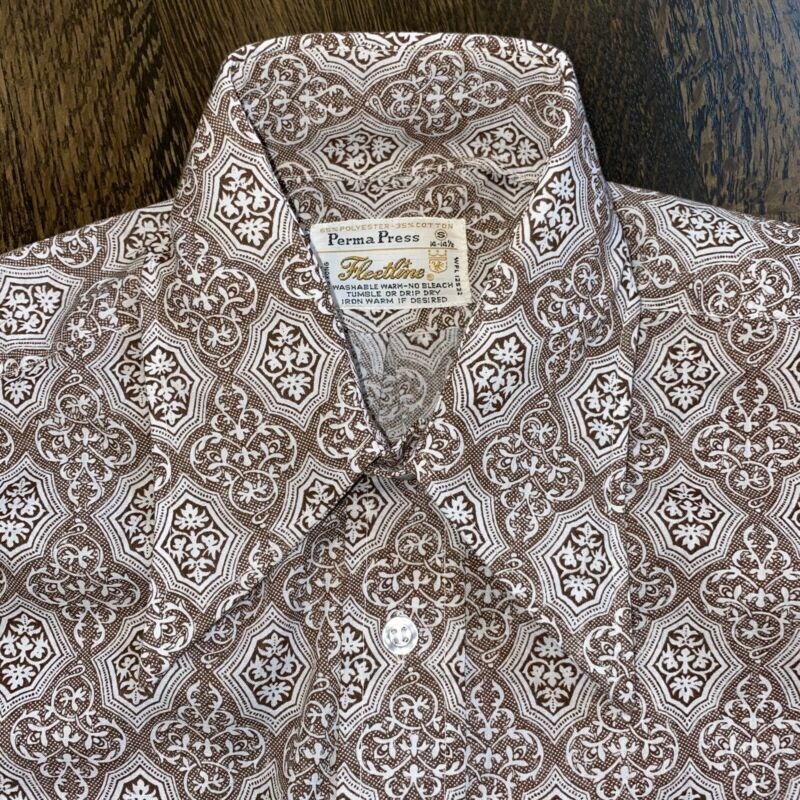 NEW Vtg 60s 70s FLEETLINE Disco Dress Shirt BROWN Perma Press Mod MENS SMALL NOS