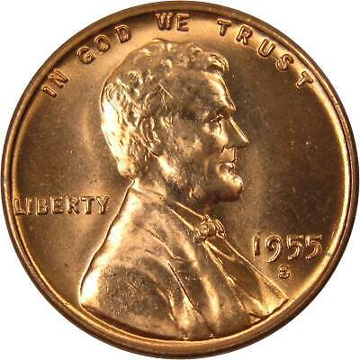 1955 S BU Penny Showing On End Of 50 Coin Circulated Wheat Cent Roll 1a