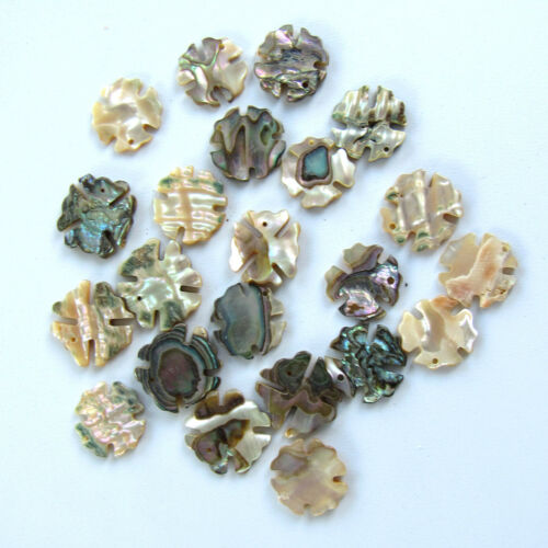 Abalone Shell Charms / Pendants / Pieces / Clover / Flower Drilled Loose 15 pcs.