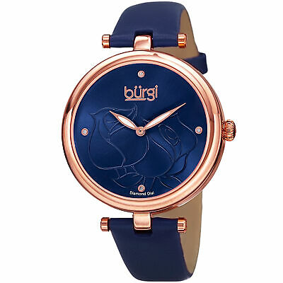 Women's Burgi BUR151BU Flower Engraved Diamond Dial Genuine Leather Strap Watch