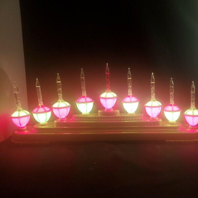 "Bubble Light Candelabra 9 Bulbs 20"" long Gold Color Base, Works EUC"