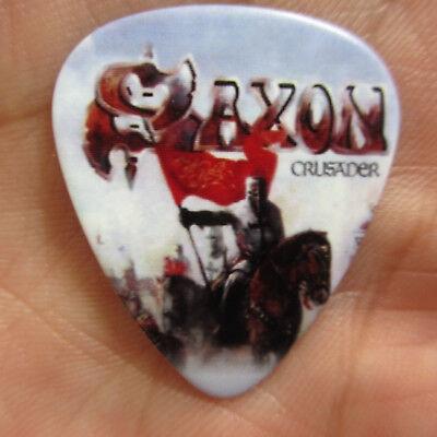 SAXON Collectors Guitar Pick; 'Crusader' Classic 1980s Metal Act Denim n Leather