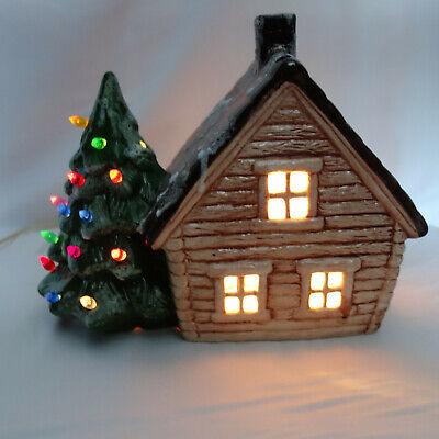 Vintage Ceramic Light Up Christmas House Christmas Tree Decoration w/ Box MTH-1