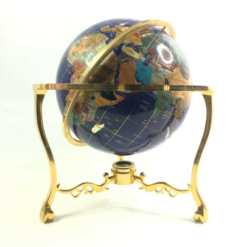 Tabletop Globe Compass Lapis Ocean 18 Inch Semi Precious Gemstone Rotating