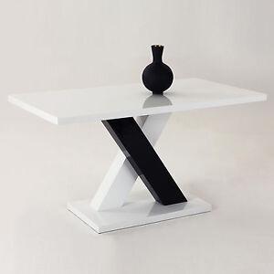 Esstisch-Tisch-Hochglanz-weiss-schwarz-Saeulentisch-Esszimmertisch ...