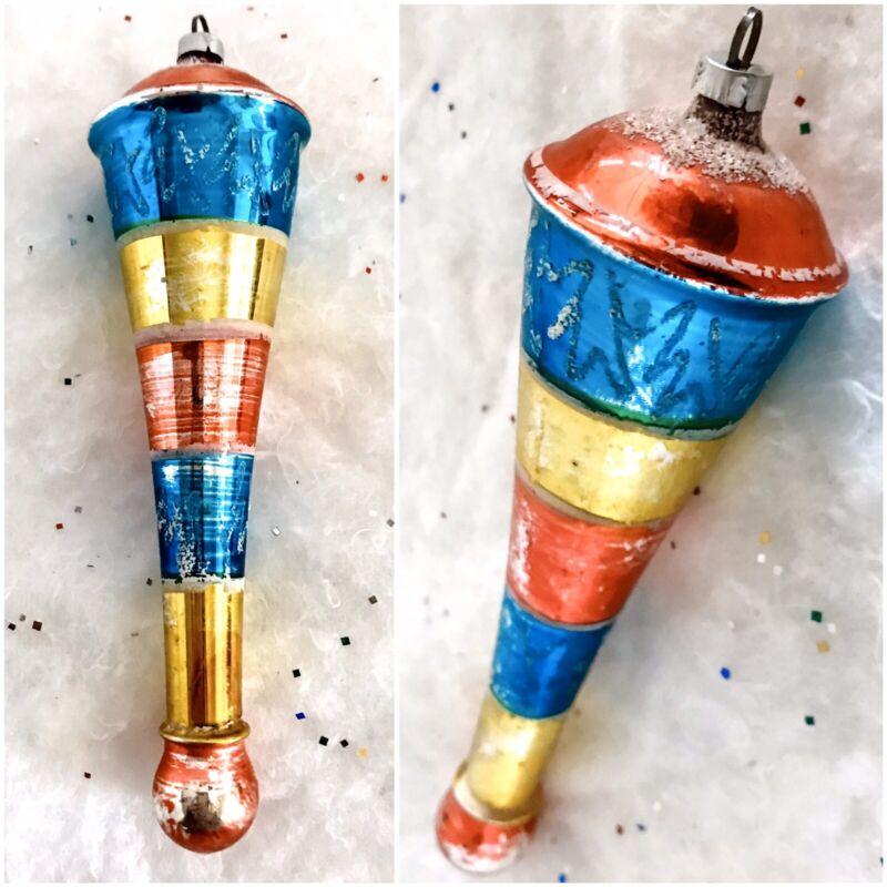 "Vtg Christmas Tree Ornament Blown Glass Mica Long 7"" Spin Top Teardrop Cone RARE"