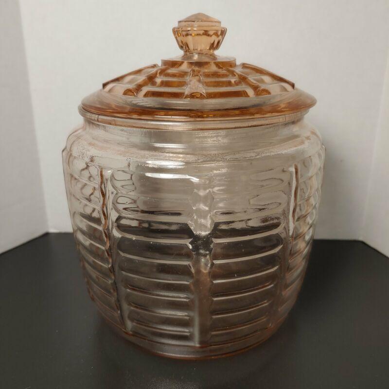 Pink depression cracker jar