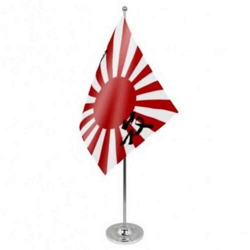 Japan Rising Sun Navy Ensign Good Luck Script Satin & Chrome Premium Table Flag