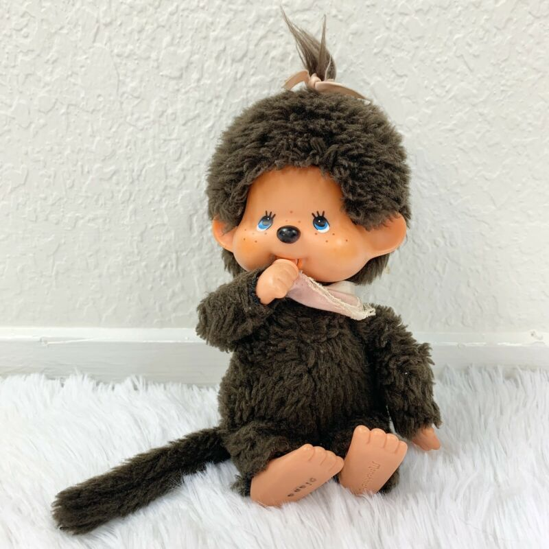 "Vintage 80s Girl Monchhichi Monkey Japanese Anime 8"" Plush Doll"