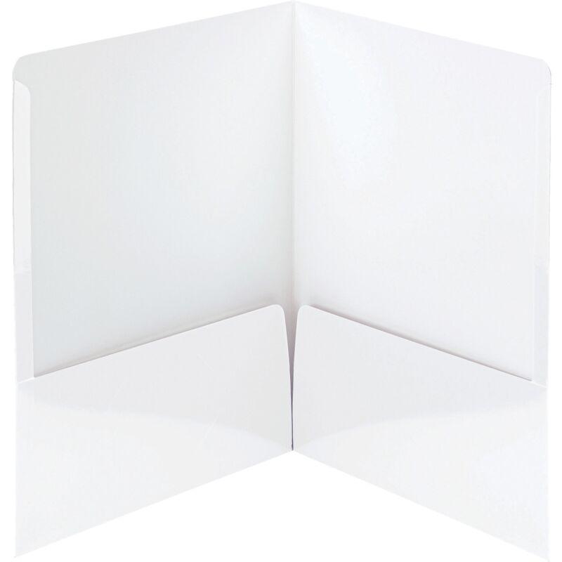 Smead Folders 2-Pocket High Gloss Letter-size 25/BX White 87883
