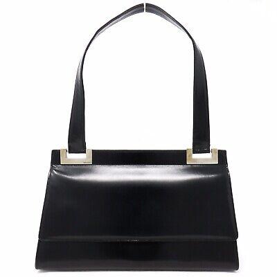 GUCCI Black Shoulder Bag Leather Handbag Flap Silver Hardware Vintage - Italy