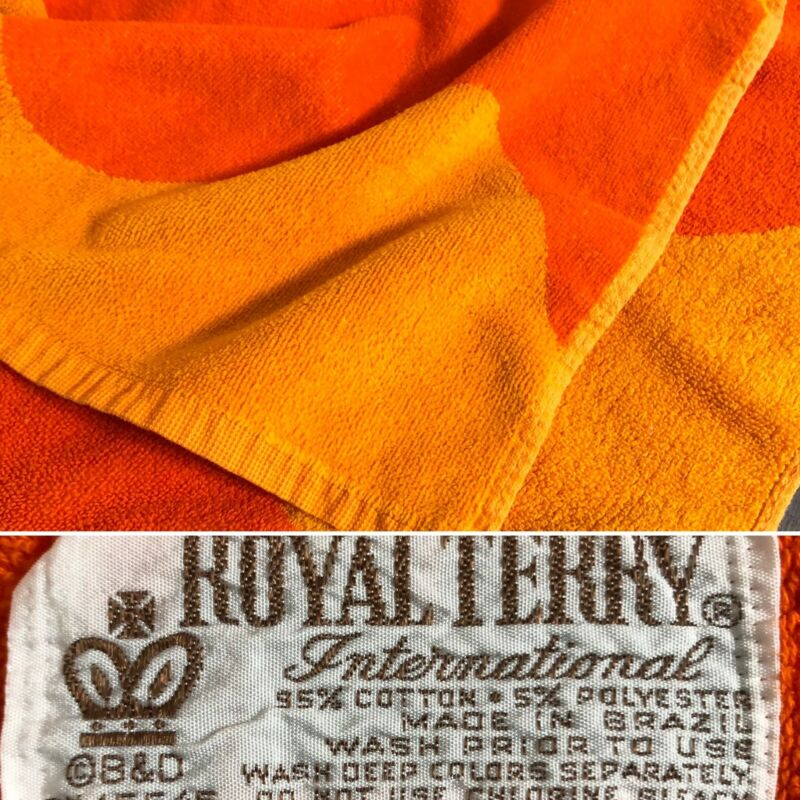 Vintage Royal Terry Beach Bath Pool Towel Orange B&D Made In Brazil