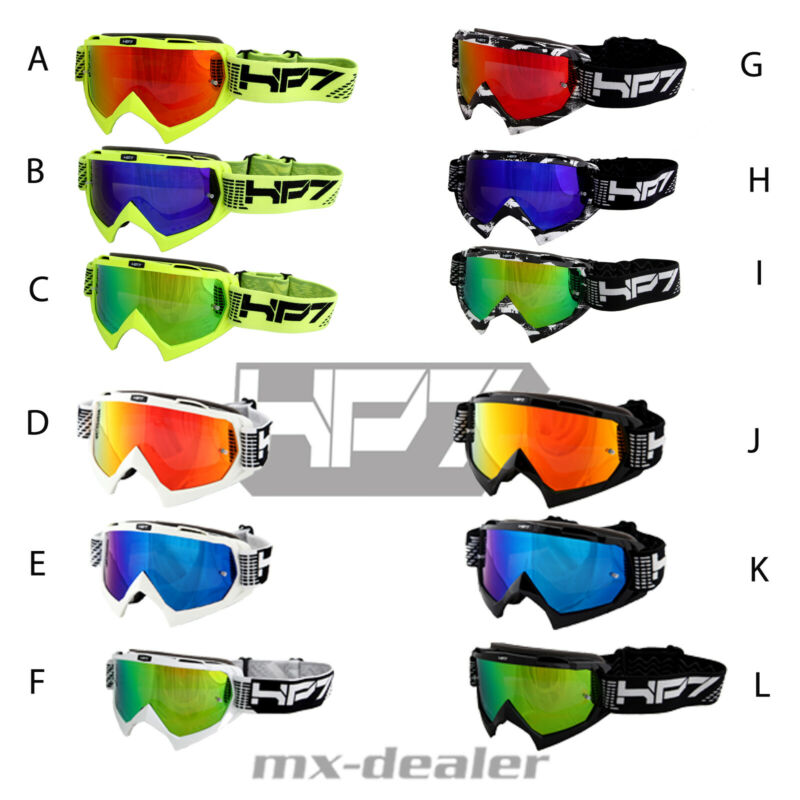 HP7 MX motocross Enduro Brille weiss verspiegelt Klarglas Crossbrille MTB BMX