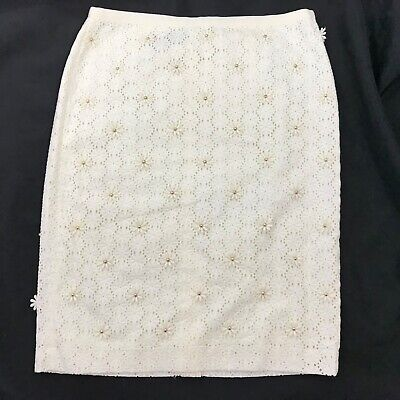 Talbots Size 8 Skirt Pencil Straight Floral Embroidered Eyelet Easter Spring Spring Embroidered Skirt
